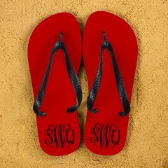 Monogrammed Flip Flops in Red and Grey