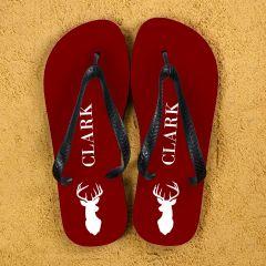 Stag Design Personalised Flip Flops in Red