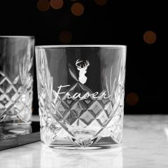 Personalised Name & Icon Crystal Whisky Glass