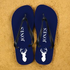Stag Design Personalised Flip Flops in Blue and White