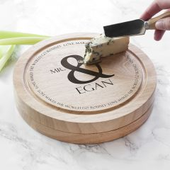 Personalised Love Makes The World Go Round Cheese Board Set
