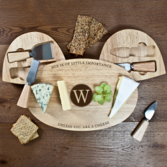 Personalised The Importance of Age Classic Wooden Cheese Board Set
