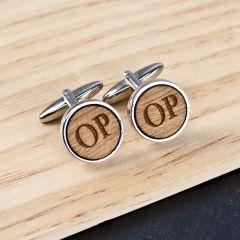 Personalised Circle Wooden Cufflinks