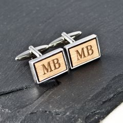 Personalised Rectangle Wooden Cufflinks