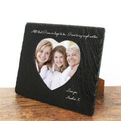 Personalised Angel Mother Heart Slate Photoframe