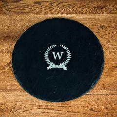 Personalised Initial Of Honour Round Slate Cheese Board