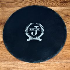 Initial and Surname of Honour Round Slate Cheese Board