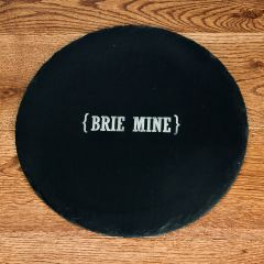 Personalisation Swirl Brackets Round Slate Cheese Board