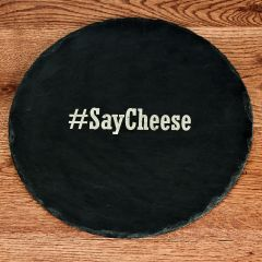 personalised Hashtag Open Phrase Round Slate Cheese Board