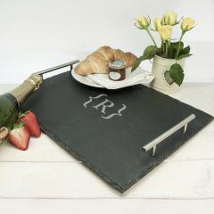 Personalised Breakfast In Bed Slate Tray - Brackets Design