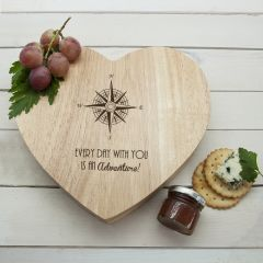 Personalised Romantic Compass Heart Cheese Board & Tools Set