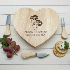 Personalised Worlds Best Mum with Daisy Flowers Heart Cheese Board & Tools Set