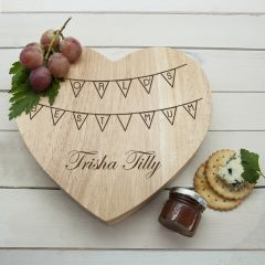 Personalised World's Best Mum Bunting Heart Cheese Board & Tool Set