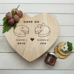 Personalised Retro 'Game On' Couples' Heart Cheese Board & Tools Set