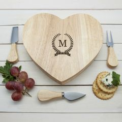Personalised Monogrammed Romantic Wreath Heart Cheese Board