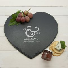 Personalised Classic Couples' Heart Slate Cheese Board