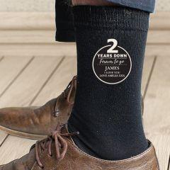 Personalised 2nd Wedding Anniversary Mens Socks