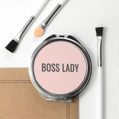 Personalised Boss Lady Round Compact Mirror