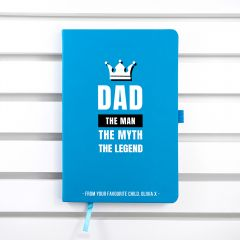 Personalised Dad The Legend A5 Notebook - 8 Colours