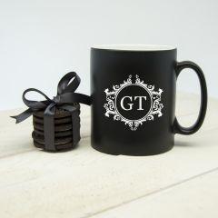 Personalised Silhouette Floral Initial Mug