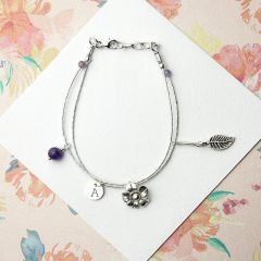 Personalised Forget Me Not Friendship Bracelet With Amethyst Stones