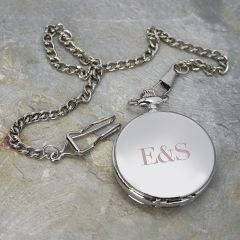 Personalised Silver Finish Double Side Engraved Pocket Watch