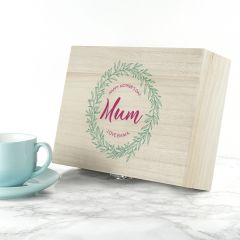 Personalised Leaf Wreath Tea Box