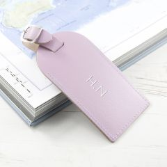 Personalised Lilac Foiled Leather Luggage Tag