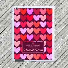 Personalised Purple Love Hearts Tablet and iPad Case