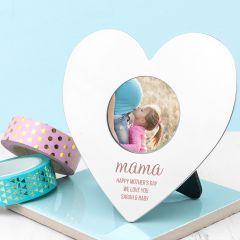 Personalised Mama's Mini Heart Shapes Photo Frame