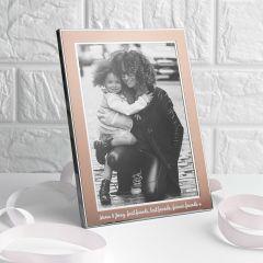 Personalised Medium Rose Gold Metal Photo Frame