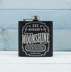 Personalised Moonshine Vintage Design Black Hip Flask