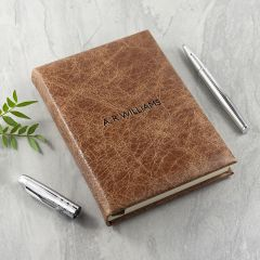 Personalised Natural Tan Engraved Leather Notebook