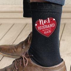 Personalised No.1 Heart Design Men's Socks