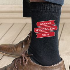 Personalised Red Banner Design Mens Socks