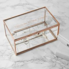 Personalised Rose Gold Edged Glass Jewellery Box