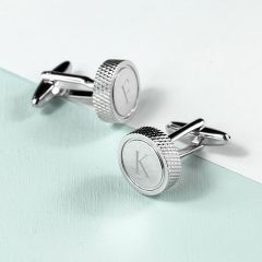 Personalised Round Rhodium Plated Cufflinks