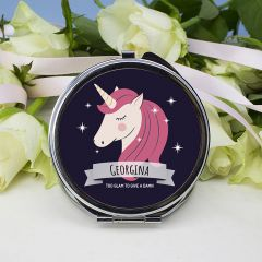 Personalised Sparkle Squad Round Navy Unicorn Compact Mirror
