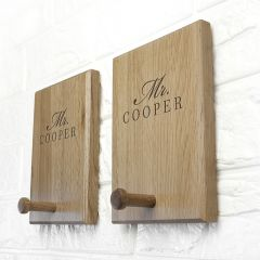 Personalised Solid Oak Couples Peg Hook