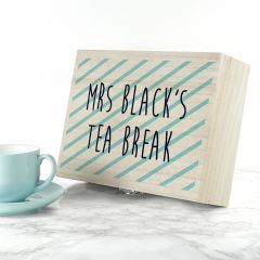 Personalised Stripes Design Teacher's Tea Box