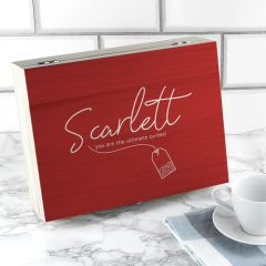 Personalised Name Red Tea Box