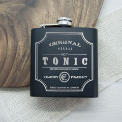 Personalised Tonic Black Matte Vintage Hip Flask