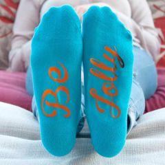 Personalised Turquoise & Orange Adults Socks