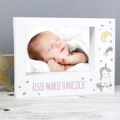 Personalised Baby Unicorn Landscape Box Photo Frame 7x5