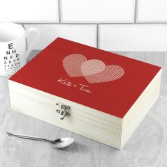 Personalised 2 Hearts Tea Box
