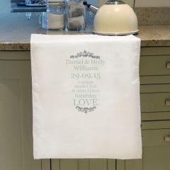 Personalised Wedding Details White Tea Towel