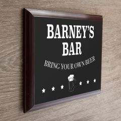 Personalised Welcome Bar Wooden Plaque