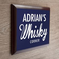 Personalised Whisky Woodern Corner Plaque