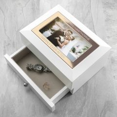 Personalised White and Rose Gold Photo Jewellery Chest