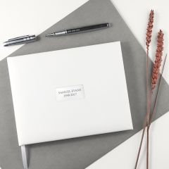 Personalised Label White Leather Memoriam Book